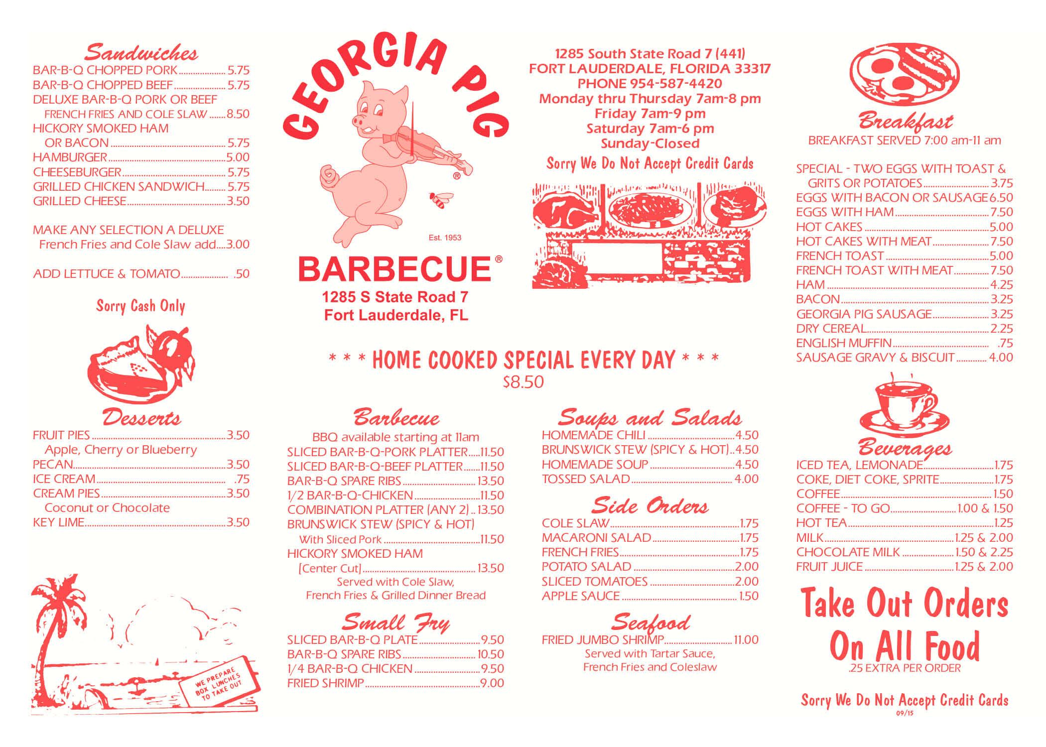 Georgia Pig Menu
